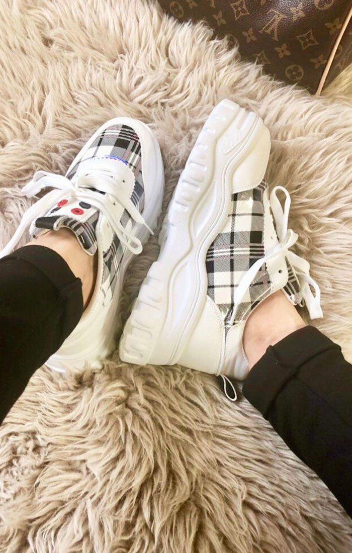 White check Print Chunky Trainer - Jessi