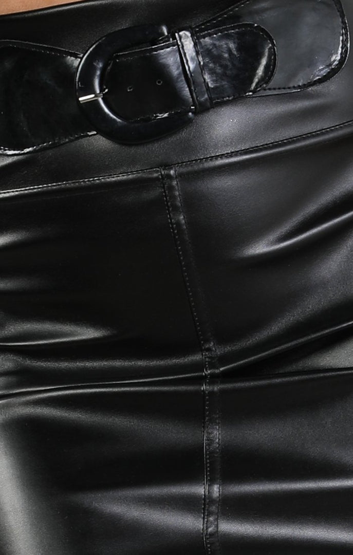 Black Faux Leather Belt Detail Skirt – Jessica