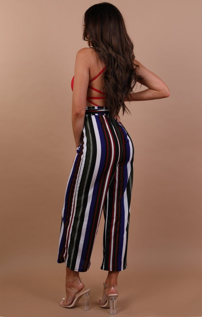 Green Striped Wide Leg Trousers - Alison