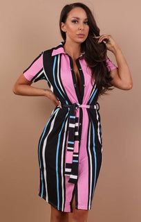 black-multi-stripe-belted-shirt-dress-saphire