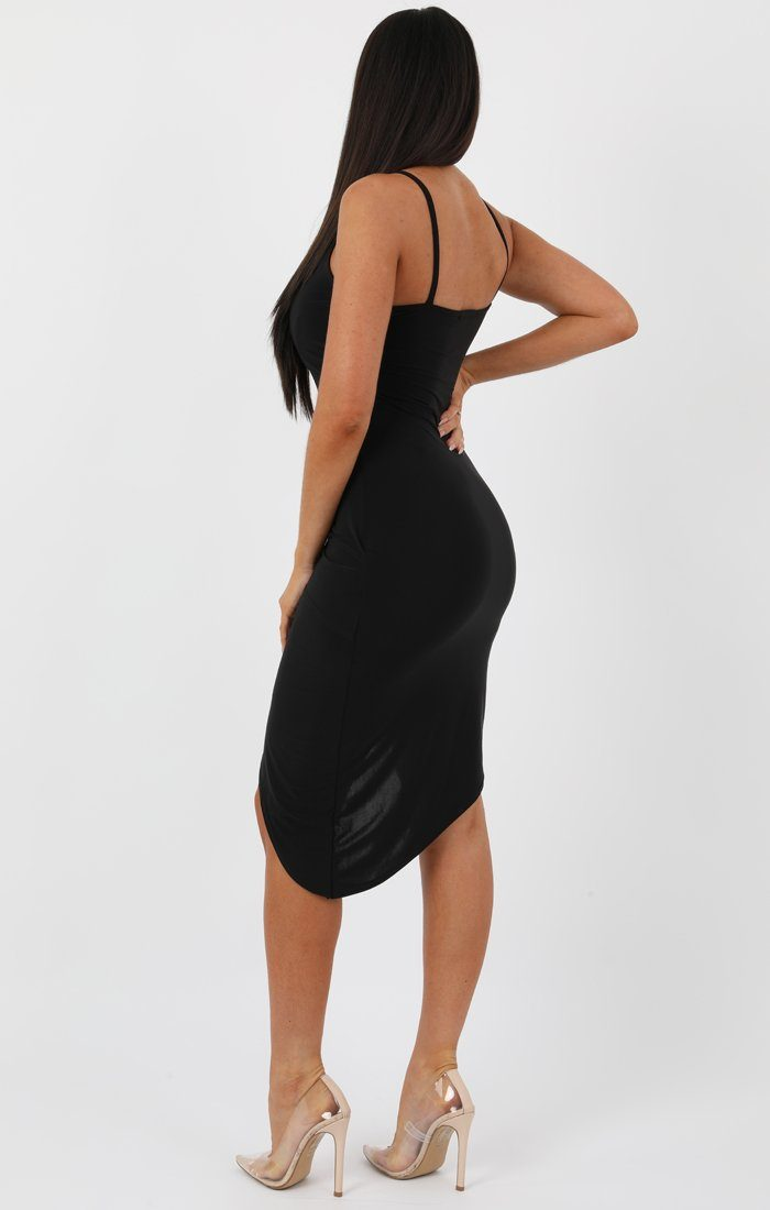 Black Front Wrap Singed Waist Midi Dress - Lucia