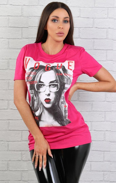 Pink Vogue Printed T-shirt- Natasha