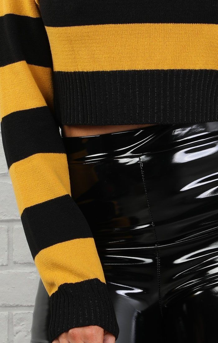 Mustard Striped Cropped Jumper - Aoife