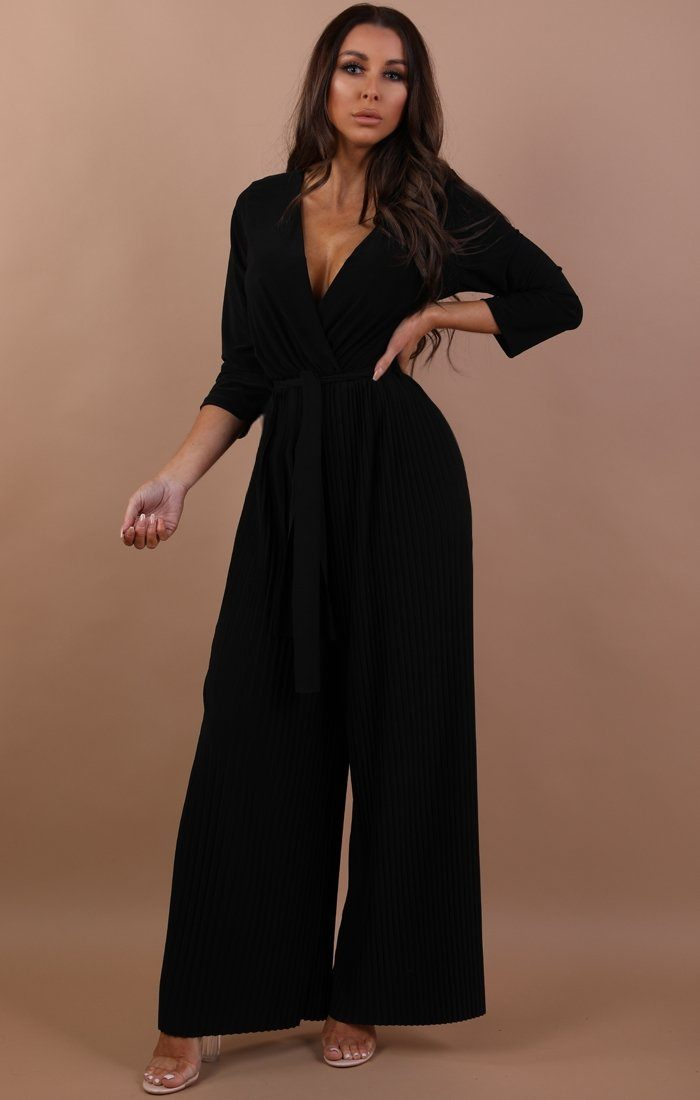 Black Pleated Wide Leg Jumpsuit - Abigail jumpsuits Femme Luxe S/M(8/10)
