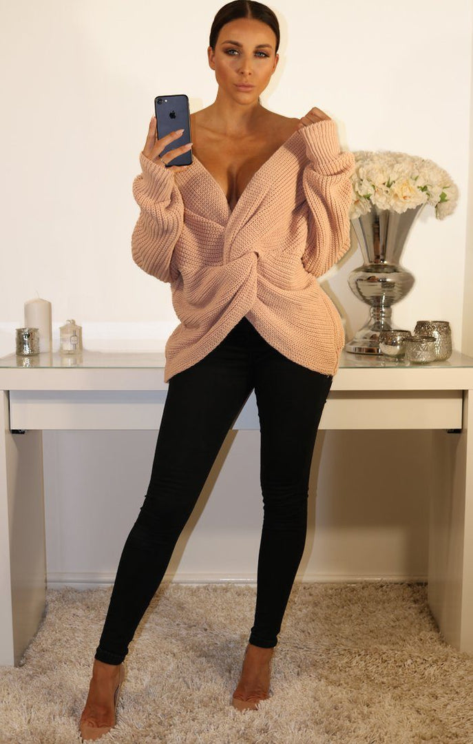 Nude Front Wrap Knitted Jumper