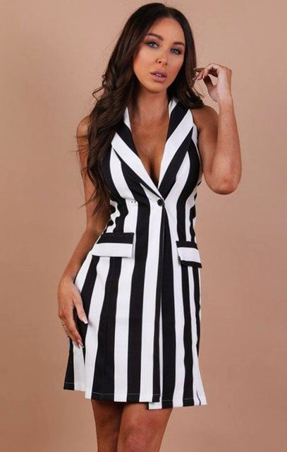 Black And White Striped Halter Neck Dress – Jadia