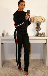 BLACK TRACKSUIT WITH SPORTS TRIM