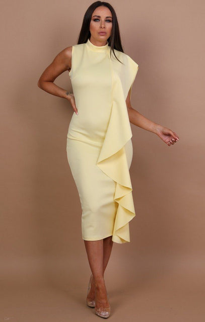 Yellow Side Frill Midi Dress - Alice
