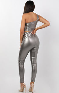 Charcoal High Shine Vinyl PU Leggings - Stevi