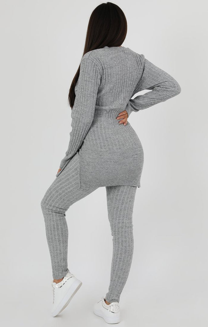 Grey Cable Knit Loungewear Set - Fleur