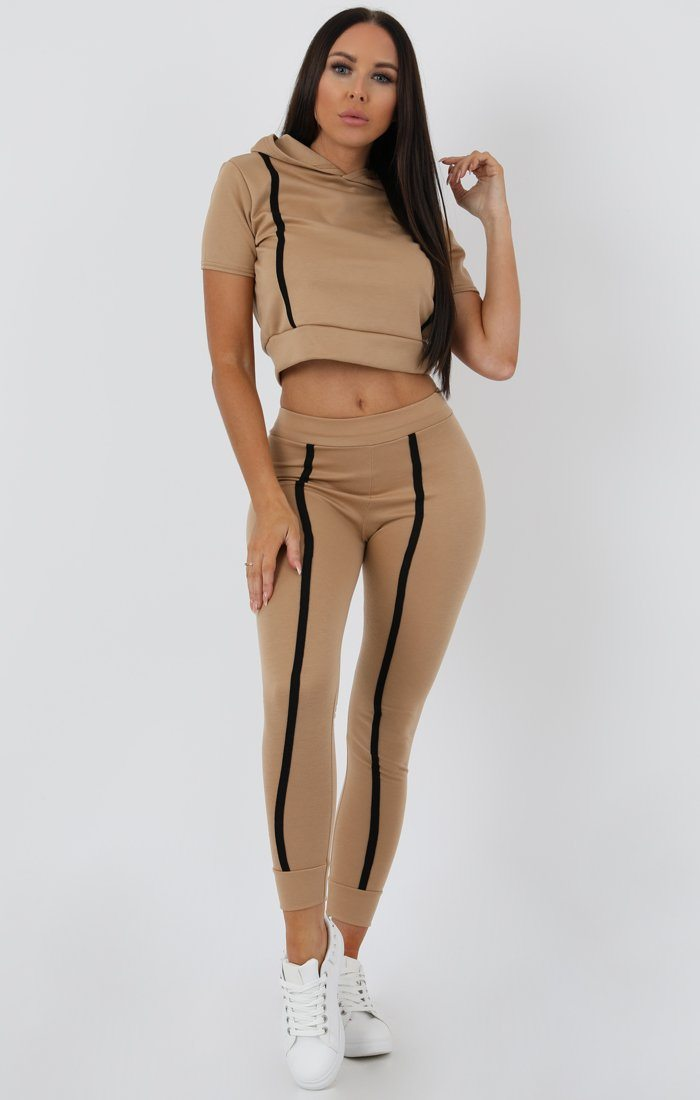 Camel Stripe Hooded Crop Loungewear Set - Hallie
