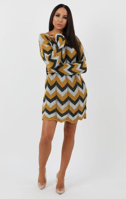 Mustard Grey Khaki Knit Crochet Chevron Dress - Georgia