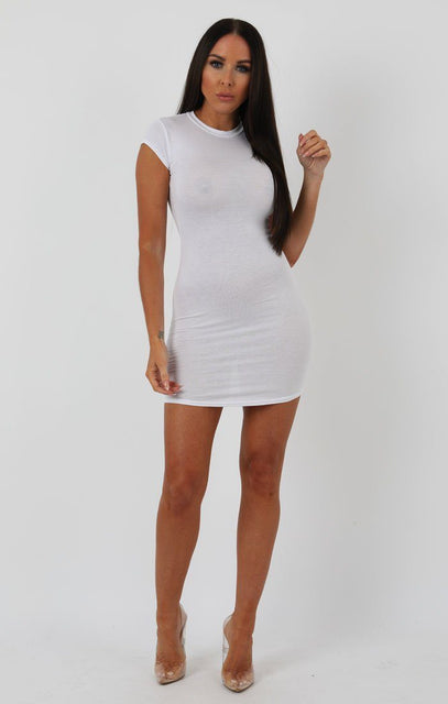 White High Neck Cap Sleeve Bodycon Dress - Natalie