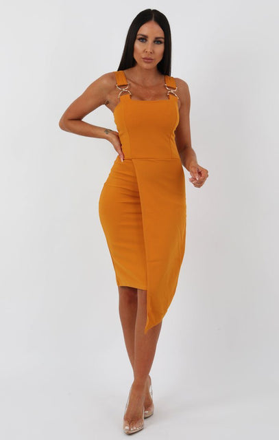 Mustard Buckle Detail Bodycon Dress - Bella