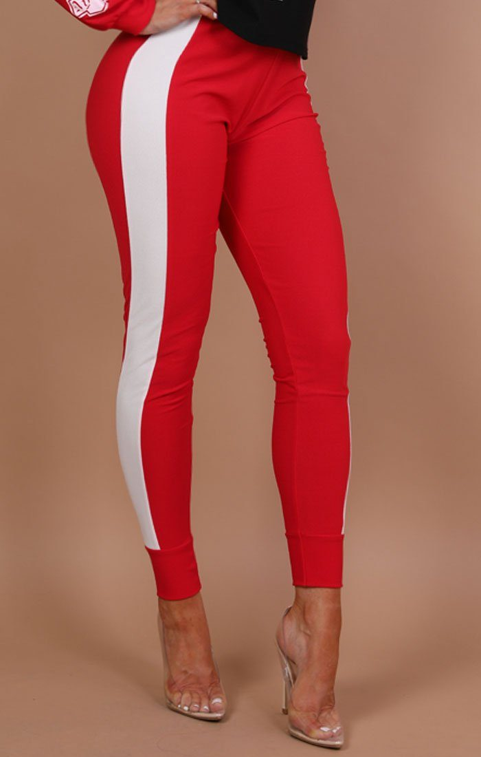 Red With White Stripe Trousers - Pippa