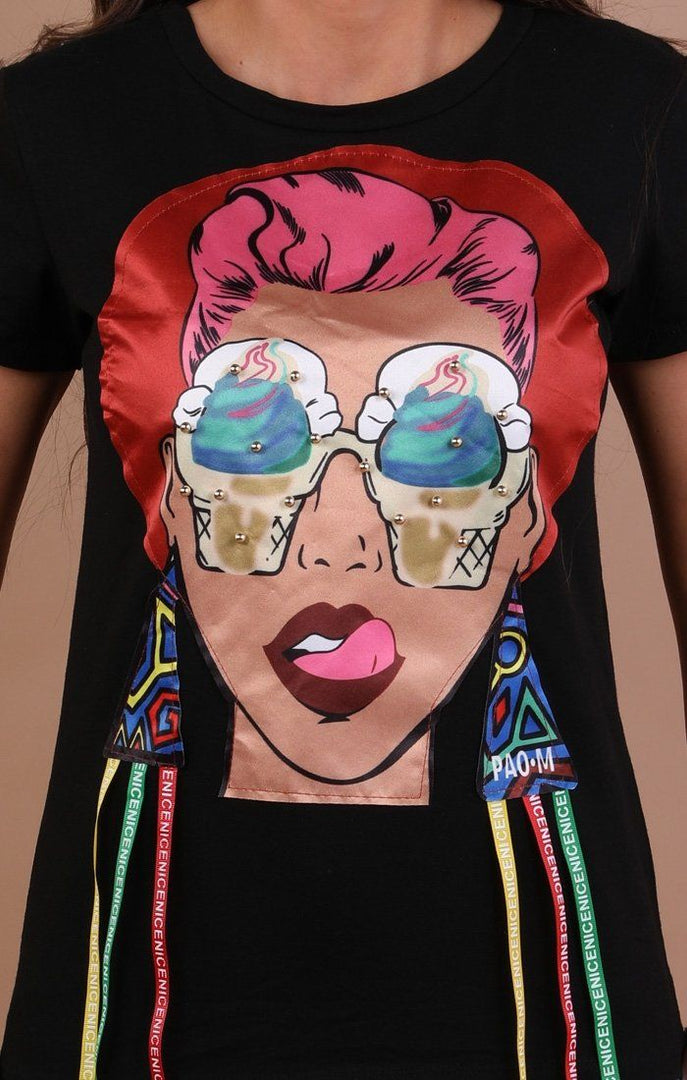 Black Pop Art Print T-shirt - Aubrey