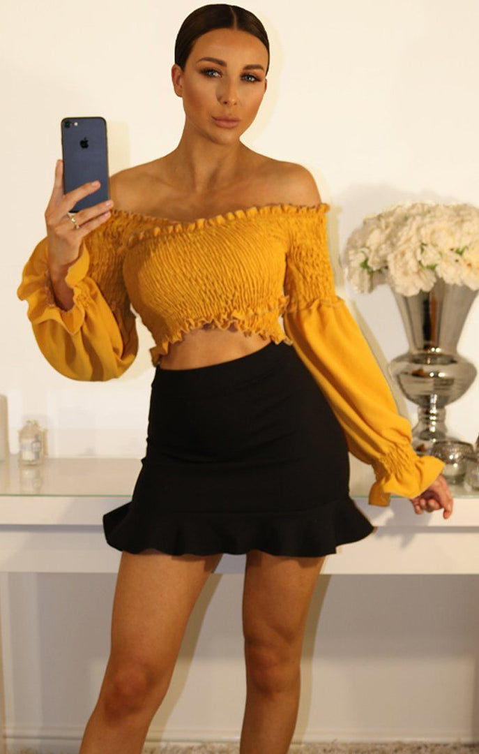Mustard Bardot Ruched Sleeve Crop Top