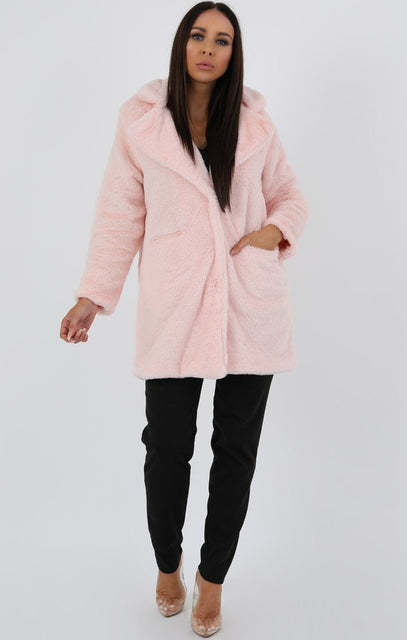 Rose Longline Borg Teddy Coat - Farah