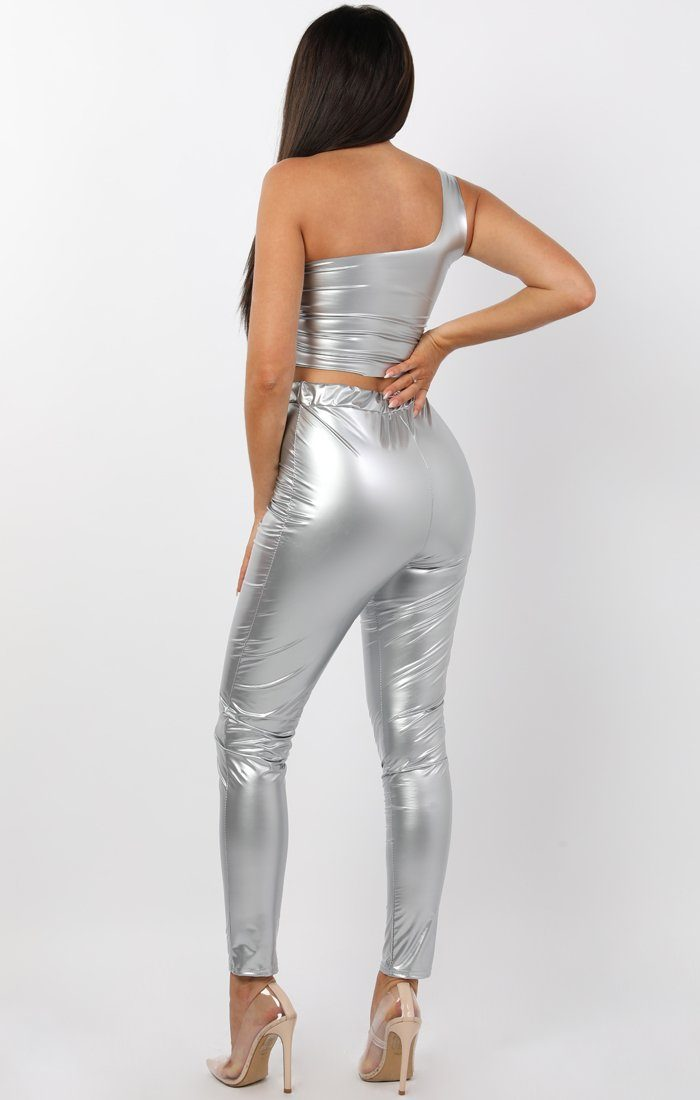 Grey High Shine Vinyl PU Leggings - Stevi