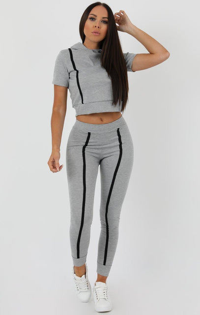 Grey Stripe Hooded Crop Loungewear Set - Hallie