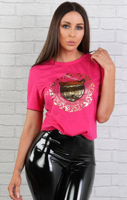 Pink Gold Tiger Print T-shirt - Christine