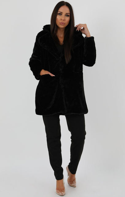 Black Longline Borg Teddy Coat - Farah