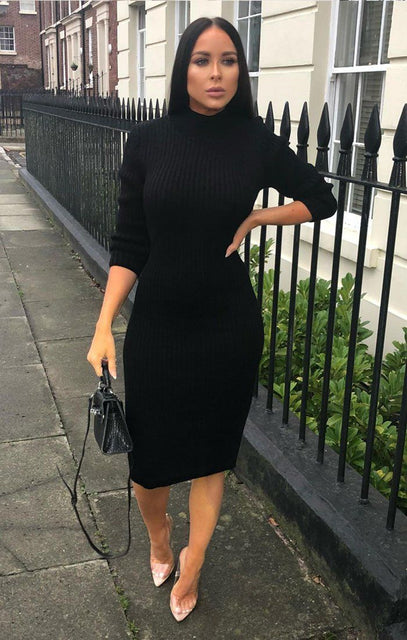 Black Knitted Ribbed Long Sleeved Midi Dress - Ellie