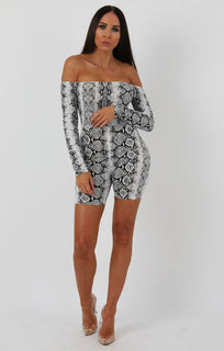 Animal Snake Print Long Sleeve Bardot Playsuit - Lana sale FemmeLuxe