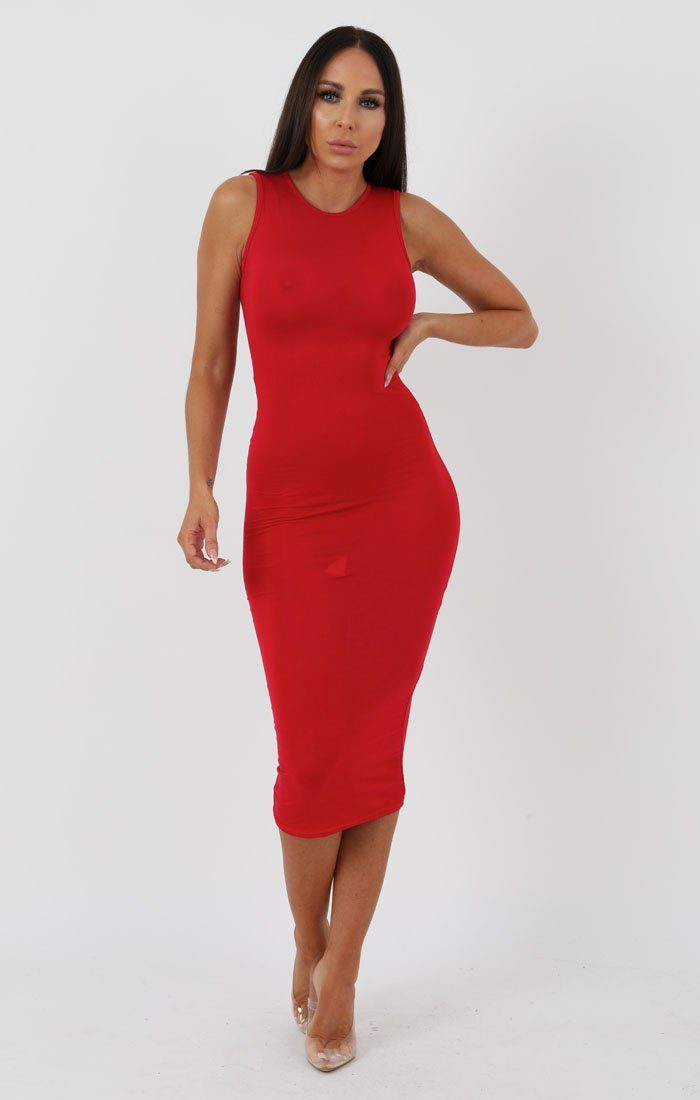 8ee4d1f4d4c32e Red High Neck Bodycon Midi Dress - Lucy