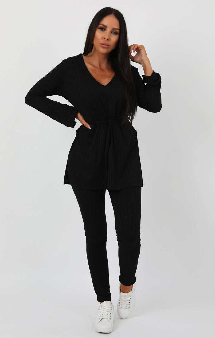 Black Ribbed belted Loungewear Set -Asia loungewear FemmeLuxe