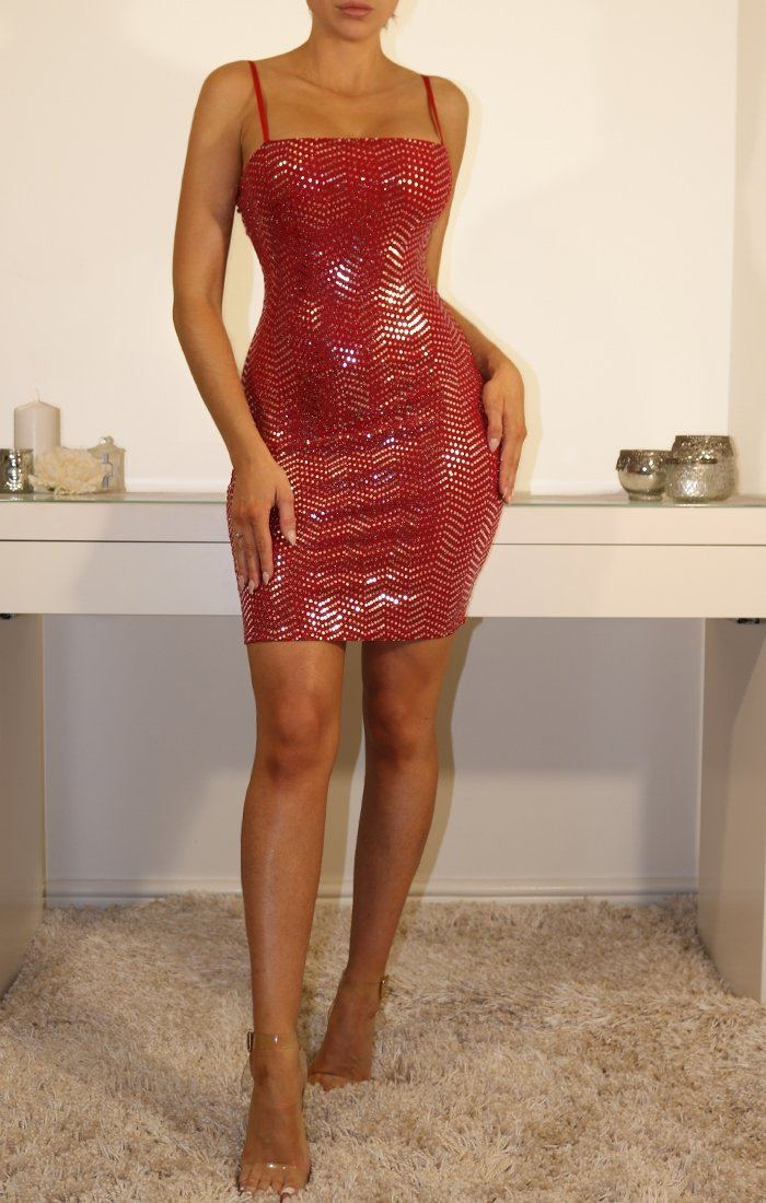Red Sequin Bodycon Mini Dress