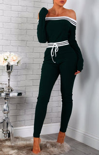 Green Stripe Detail Lounge Jumpsuit
