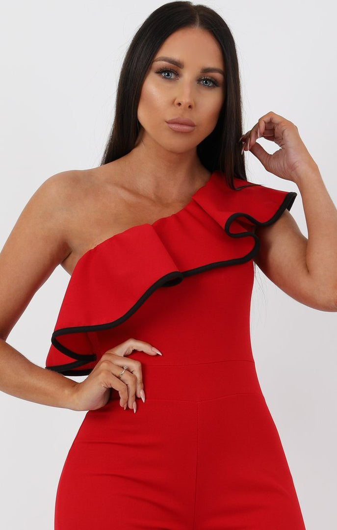 Red One Shoulder Ruffle Jumpsuit - Davina