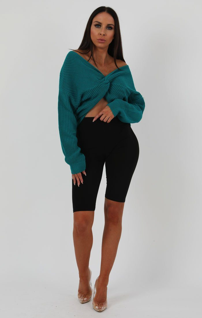 Jade Green Front Wrap Knitted Jumper