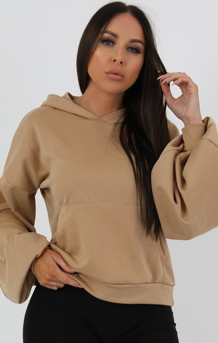 Camel Flare Cuff Sleeve Hooded Jumper - Tracey