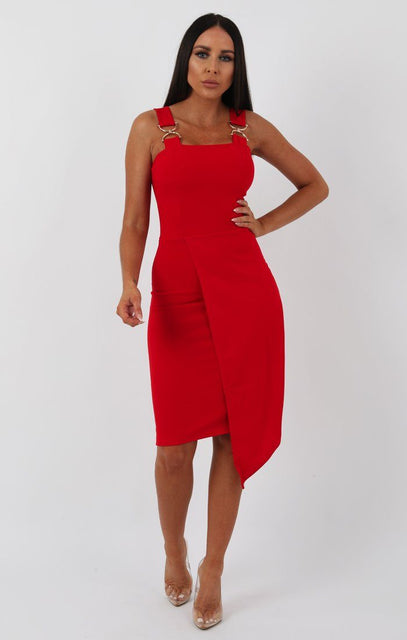 Red Buckle Detail Bodycon Dress - Bella