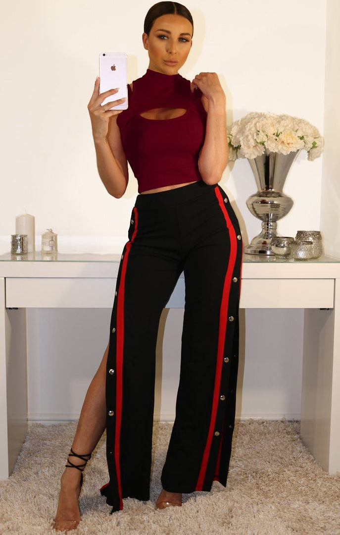 Wine Double Layered Cut Out Crop Top
