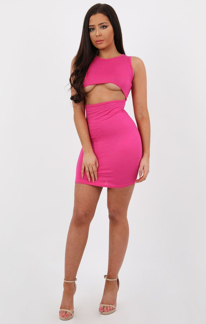 Pink Underboob Cut Out Bodycon Dress - Briana