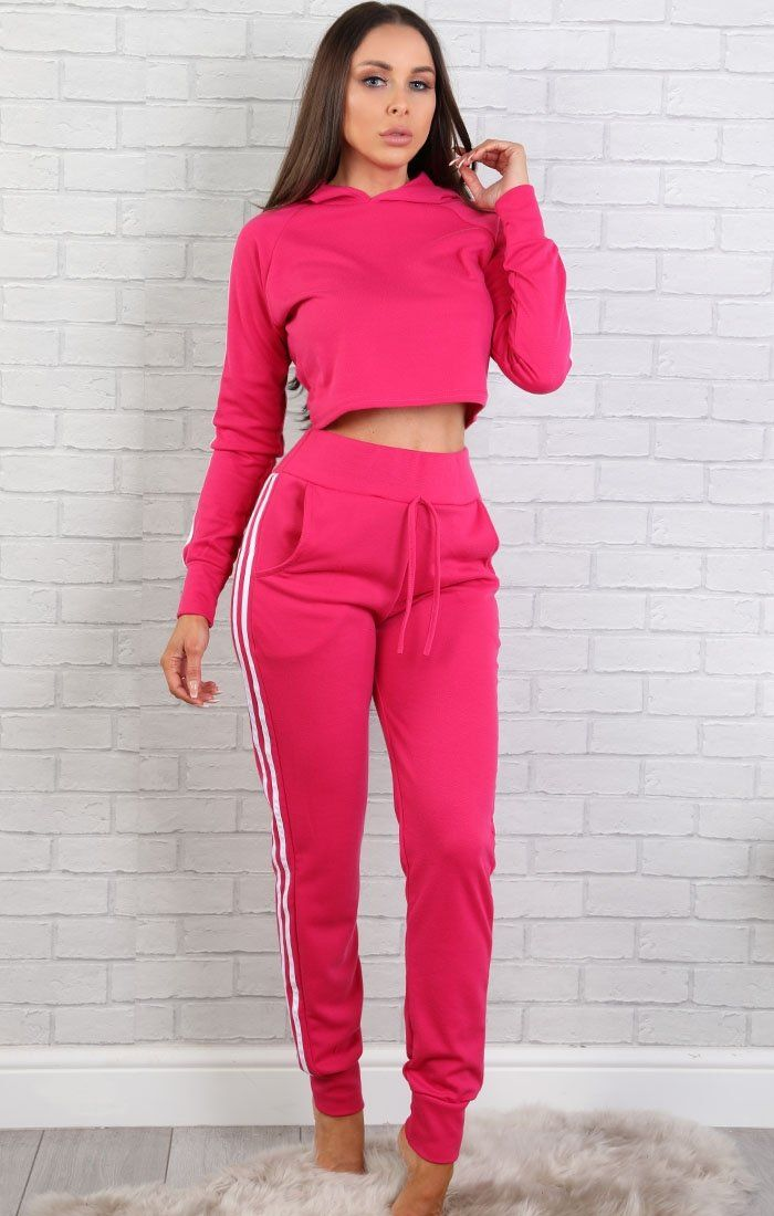 Pink With White Side Stripes Lounge Wear Set - Libbie