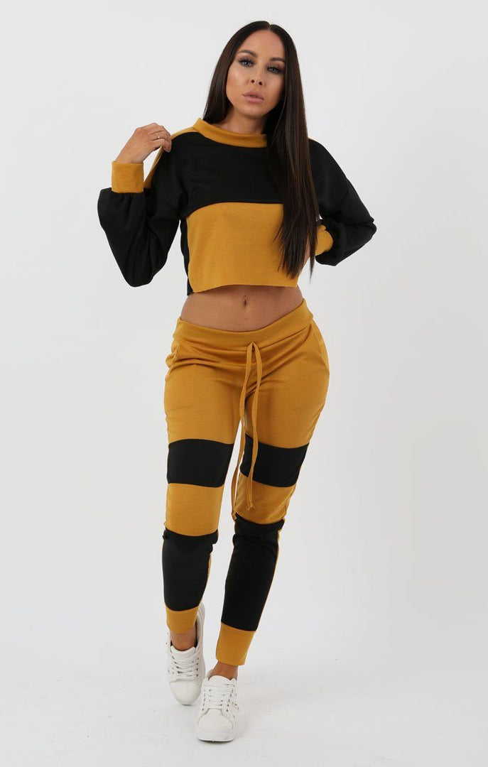 Black Mustard Racer Shell Block Loungewear Set - Rosie