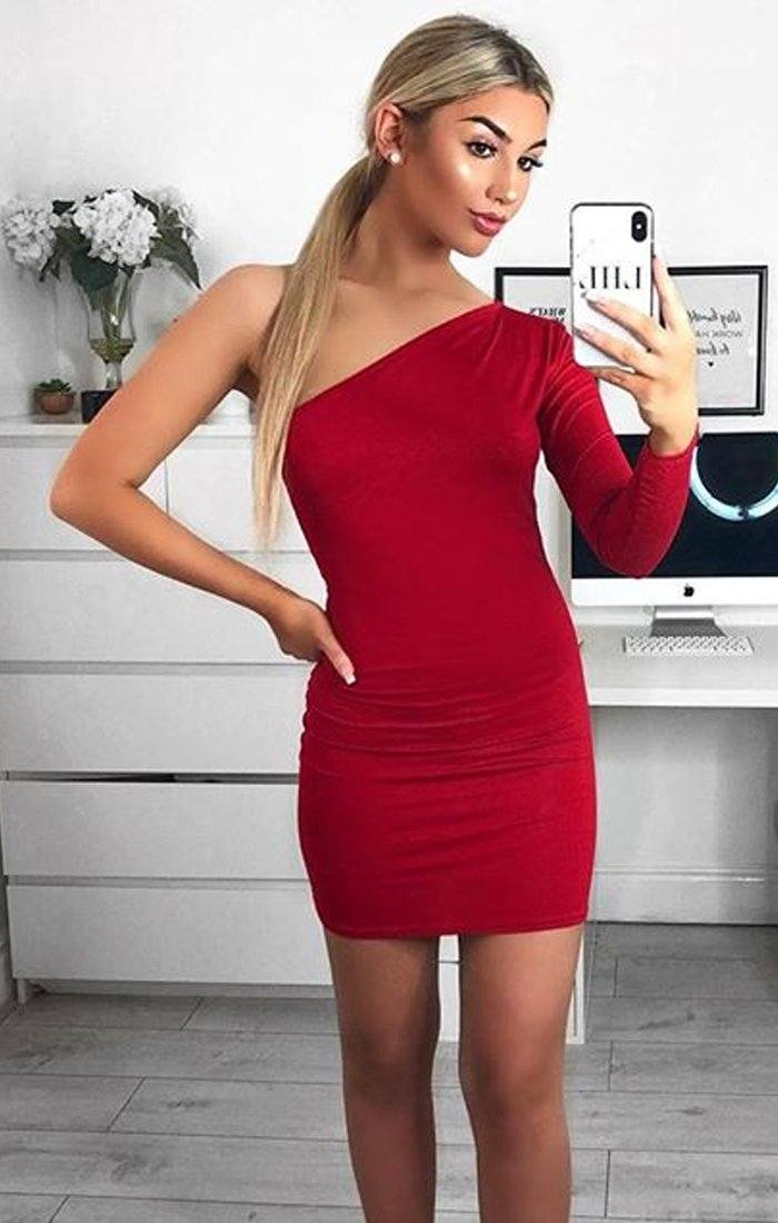 Red One Shoulder Bodycon Dress - Rosa