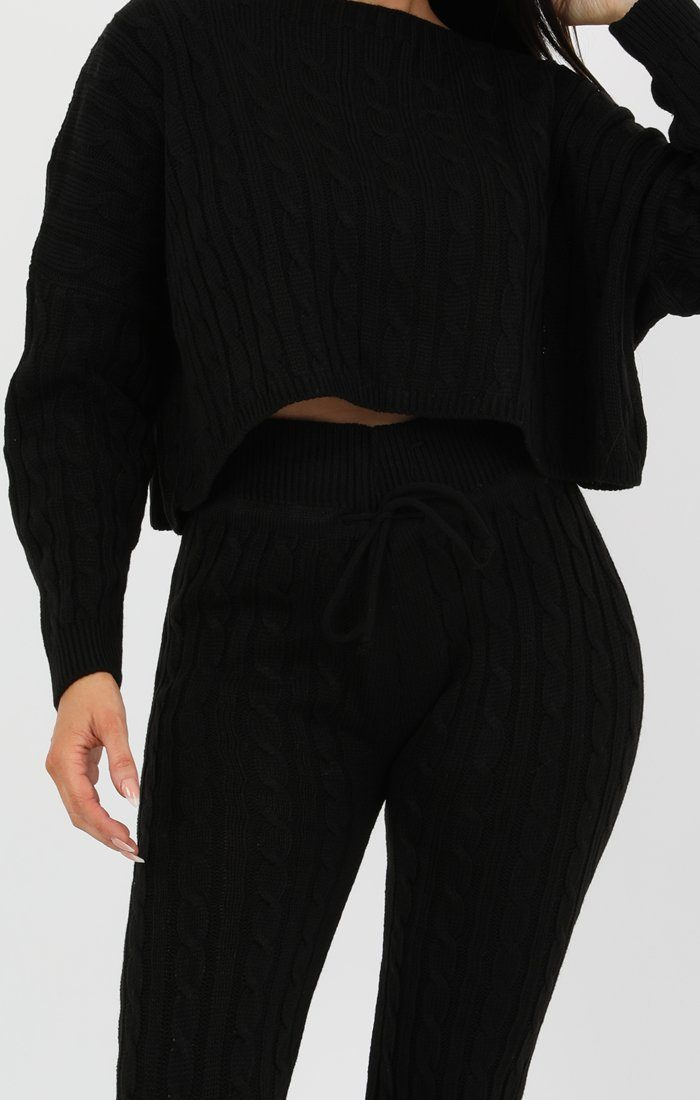 Black Cable Knit Loungewear Set - Robina