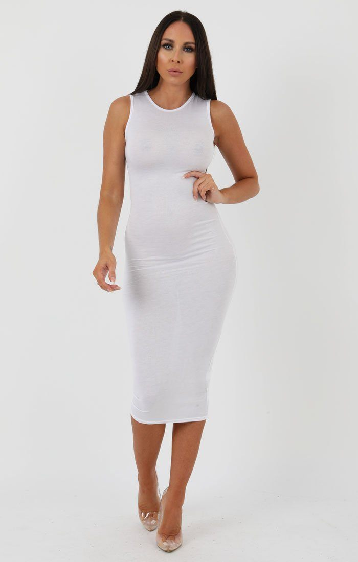 White High Neck Bodycon Midi Dress - Lucy