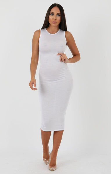dacd56bc309 White High Neck Bodycon Midi Dress - Lucy