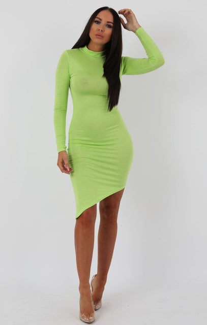 Lime Long Sleeve High Neck Split Bodycon Dress - Sabrina