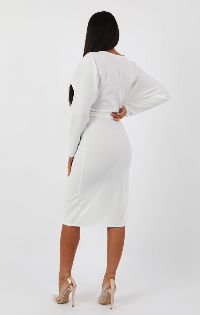 White Long Sleeve Extreme Side Split Midi Dress - Alvona