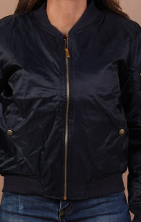 Navy Padded Bomber Jacket - Leia