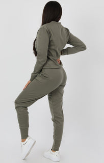 Khaki Long Sleeve Loungewear Set - Jinell