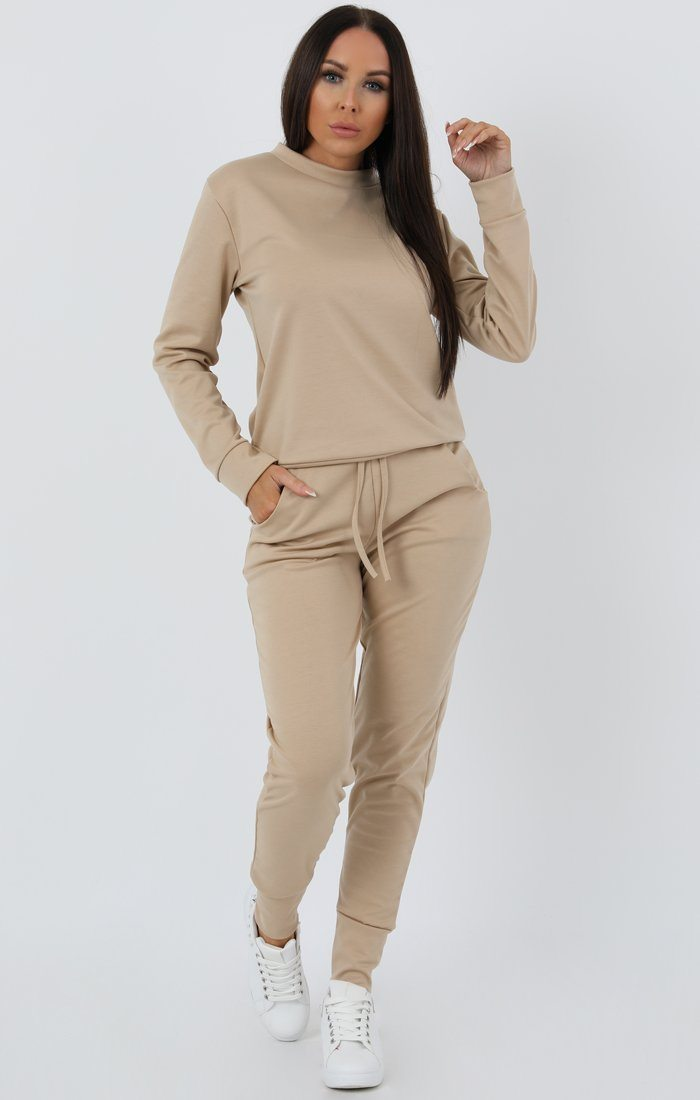 Camel Long Sleeve Loungewear Set - Jinell