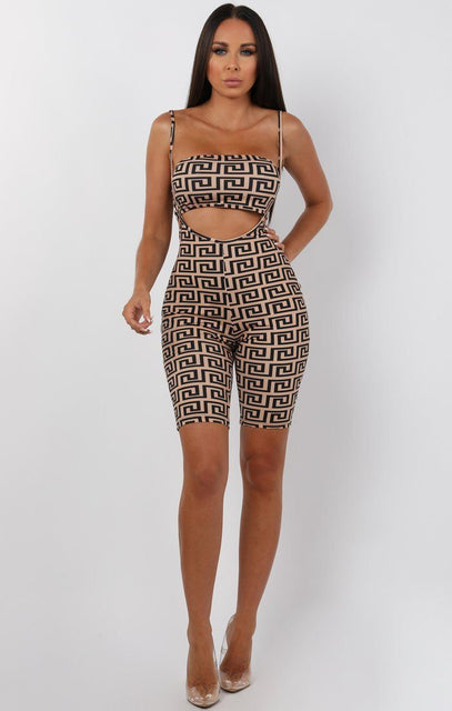 Tan Geometric Print Bandeau Two Piece Co-ord Set - Amy